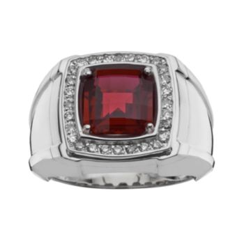 Sterling Silver Lab-Created Garnet and 1/4-ct. T.W. Diamond Ring - Men
