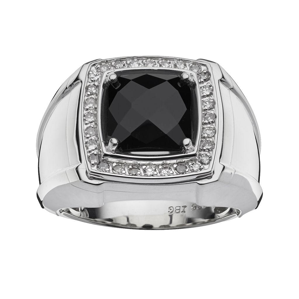 Sterling Silver Onyx & 1/4-ct. T.W. Diamond Ring - Men