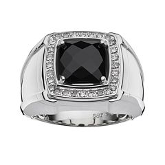 Sterling Silver Onyx & 1/4 ctT.W. Diamond Ring - Men