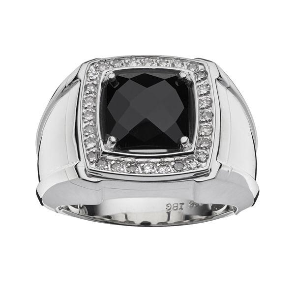 Sterling Silver Onyx 1 4 Ct T W Diamond Ring Men