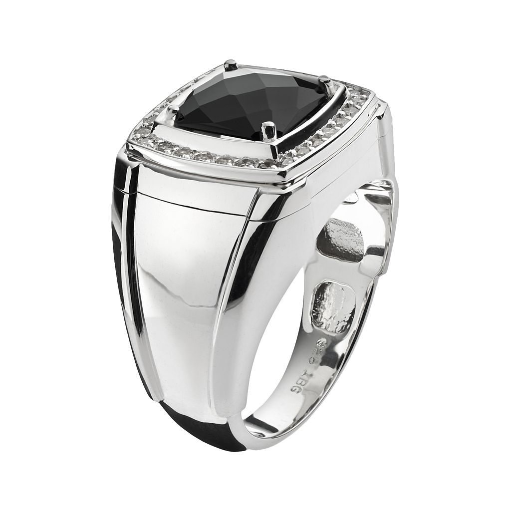Sterling Silver Onyx and 1/4-ct. T.W. Diamond Ring - Men
