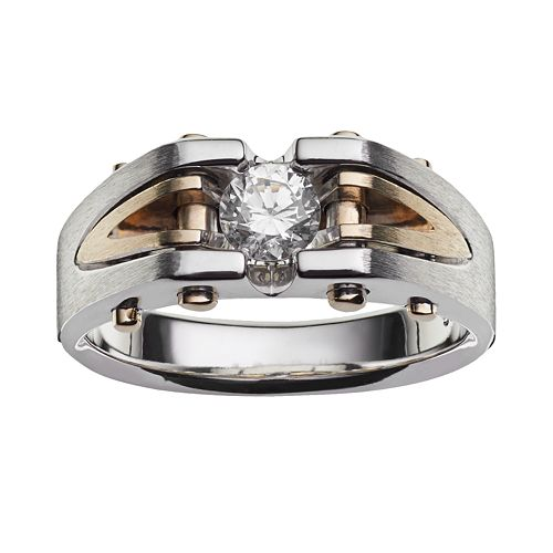 10k Gold Two Tone 1/2-ct. T.W. Diamond Ring - Men