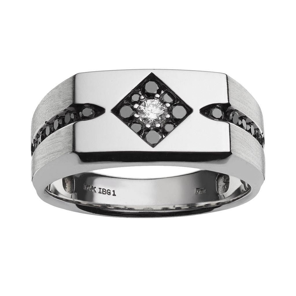 10k White Gold 1/2-ct. T.W. White and Black Diamond Ring - Men