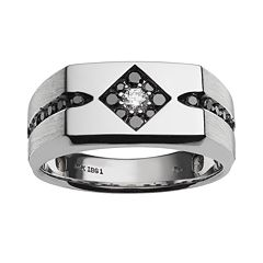 10k White Gold 1/2 ctT.W. White and Black Diamond Ring - Men