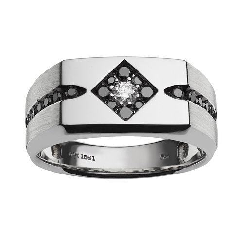 10k White Gold 1/2-ct. T.W. White and Black Diamond Ring - Men