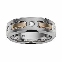 10k Gold Two Tone 1/7-ct. T.W. Diamond Wedding Band - Men