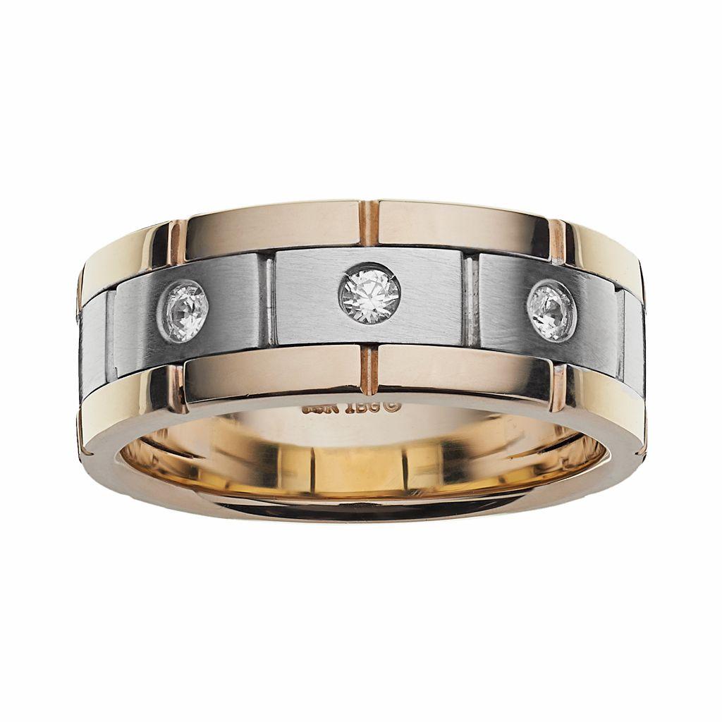 10k Gold Two Tone 1/7-ct. T.W. Diamond Wedding Band - Men