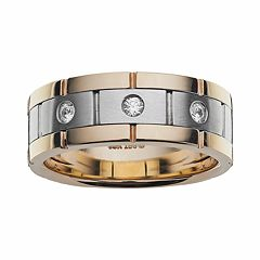 10k Gold Two Tone 1/7 ctT.W. Diamond Wedding Band - Men