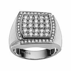 10k White Gold 1 1/2 ctT.W. Diamond Cluster Ring - Men