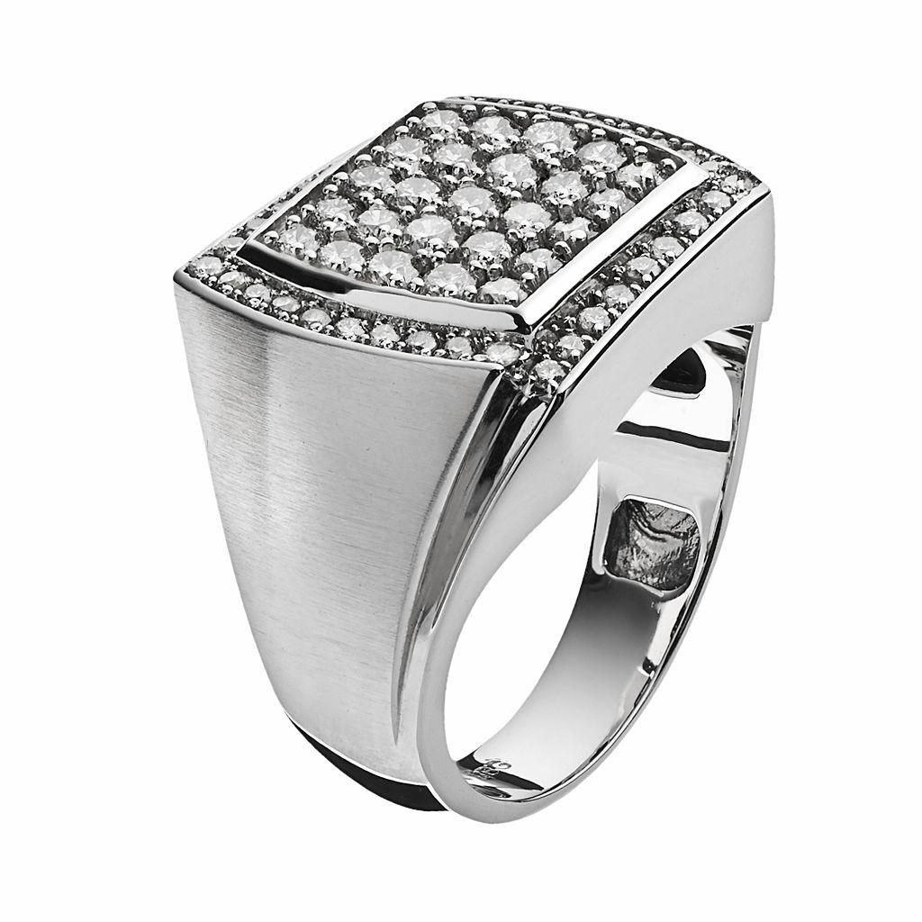 10k White Gold 1 1/2-ct. T.W. Diamond Cluster Ring - Men