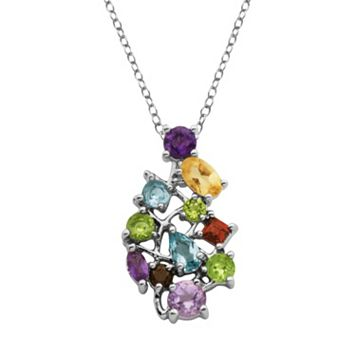 Sterling Silver Gemstone Cluster Pendant