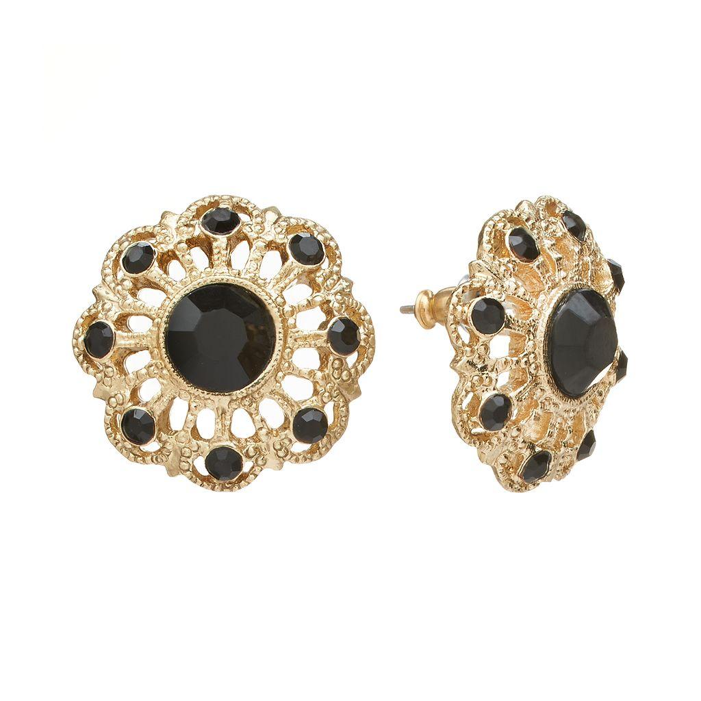 1928 Openwork Button Stud Earrings