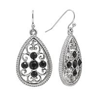 1928 Silver Tone Simulated Crystal Filigree Teardrop Earrings