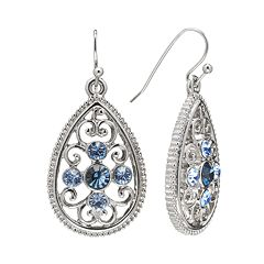 1928 Silver Tone Simulated Crystal Filigree Teardrop Earrings