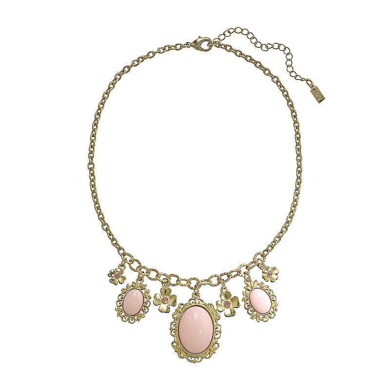 1928 Gold Tone Simulated Crystal and Cabochon Flower and Halo Charm Necklace