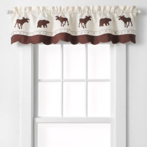 """CHF Forest Moose & Bear Tailored Kitchen Window Valance - 58"""" x 14"""""""