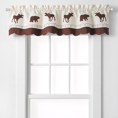 "CHF Forest Moose & Bear Tailored Kitchen Window Valance - 58"" x 14"""
