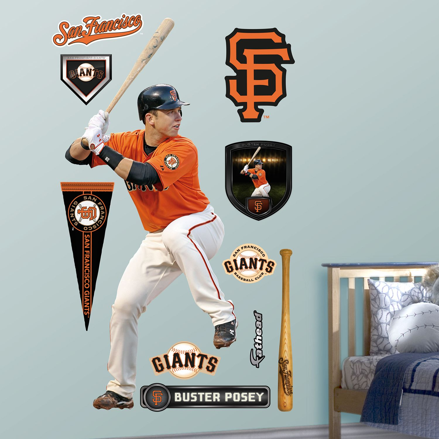 Nfl Fatheads Wall Stickers San Francisco Giants Buster Posey Wall Decals