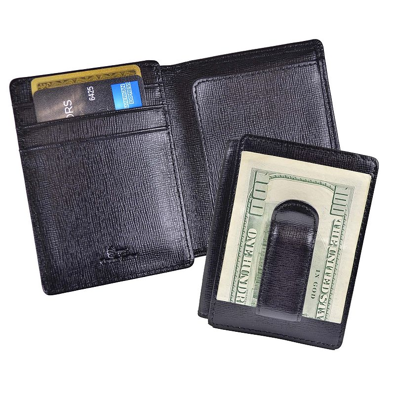 Royce Leather Saffiano Money Clip ID Wallet, Men's, Black