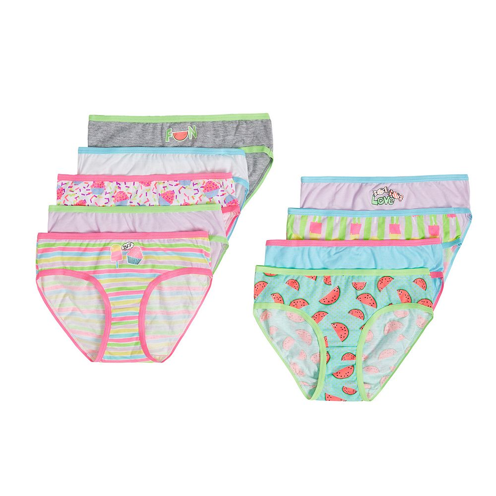 59c734eaf44b Girls 6-14 SO® 9-pk. Print & Solid Bikini Panties