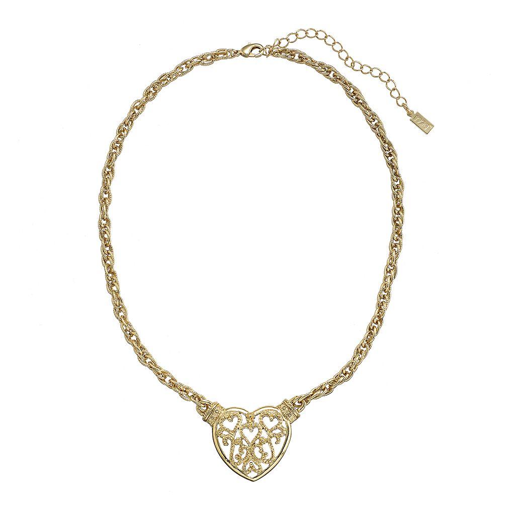 1928 Gold Tone Filigree Heart Necklace