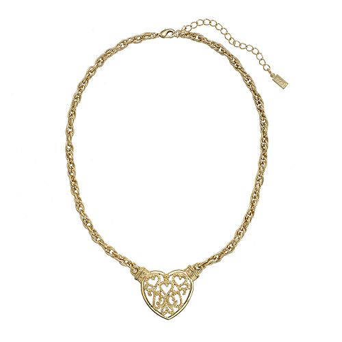1928 Gold Tone Filigree Heart Necklace