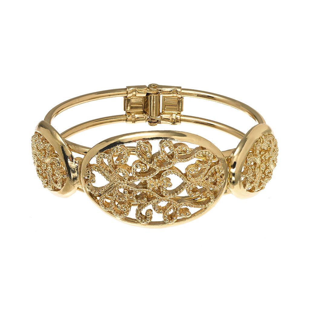 1928 Gold Tone Filigree Heart Cuff Bracelet