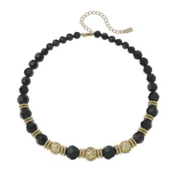 1928 Gold Tone Filigree Bead Necklace