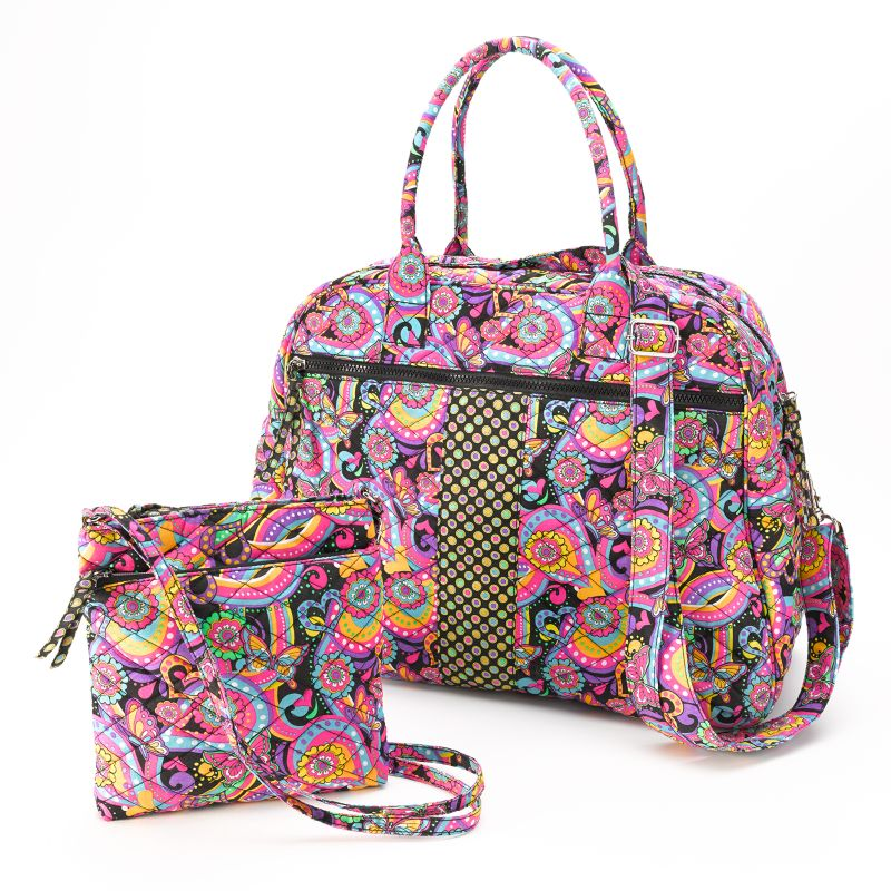 Paisley Quilted Duffel Bag & Crossbody Bag Set - Girls