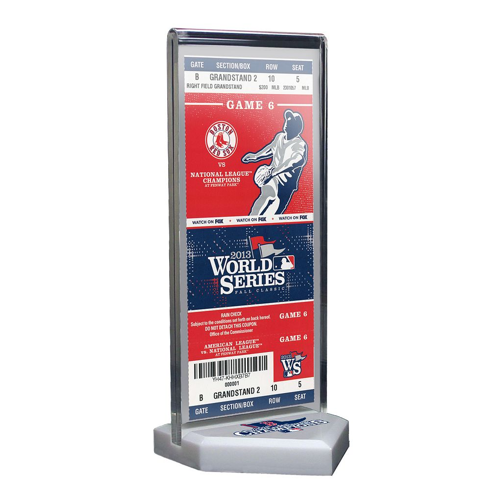 Boston Red Sox 2013 World Series Champions Home Plate Ticket Display Stand with Commemorative Ticket