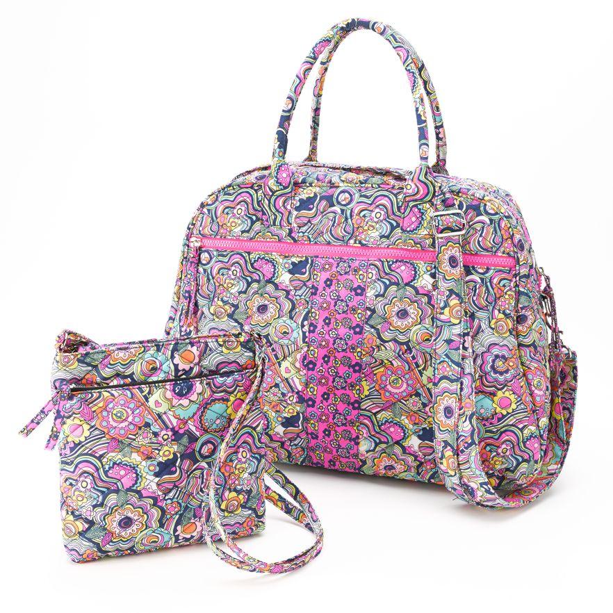 Floral Quilted Duffel Bag U0026 Crossbody Bag 2 Piece Set NWT Girls/Teens | EBay