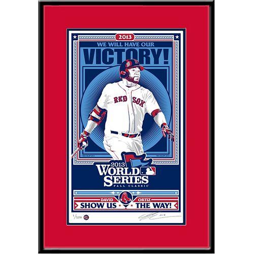 Boston Red Sox David Ortiz 2013 World Series Handmade LE Framed Screen Print By Sports Propaganda