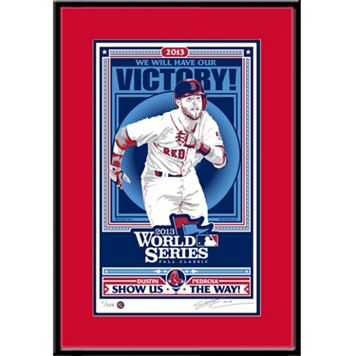 Boston Red Sox Dustin Pedroia 2013 World Series Handmade LE Framed Screen Print By Sports Propaganda