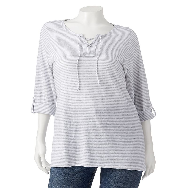 SONOMA life + style Striped Lace-Up Roll-Tab Tunic - Women's Plus