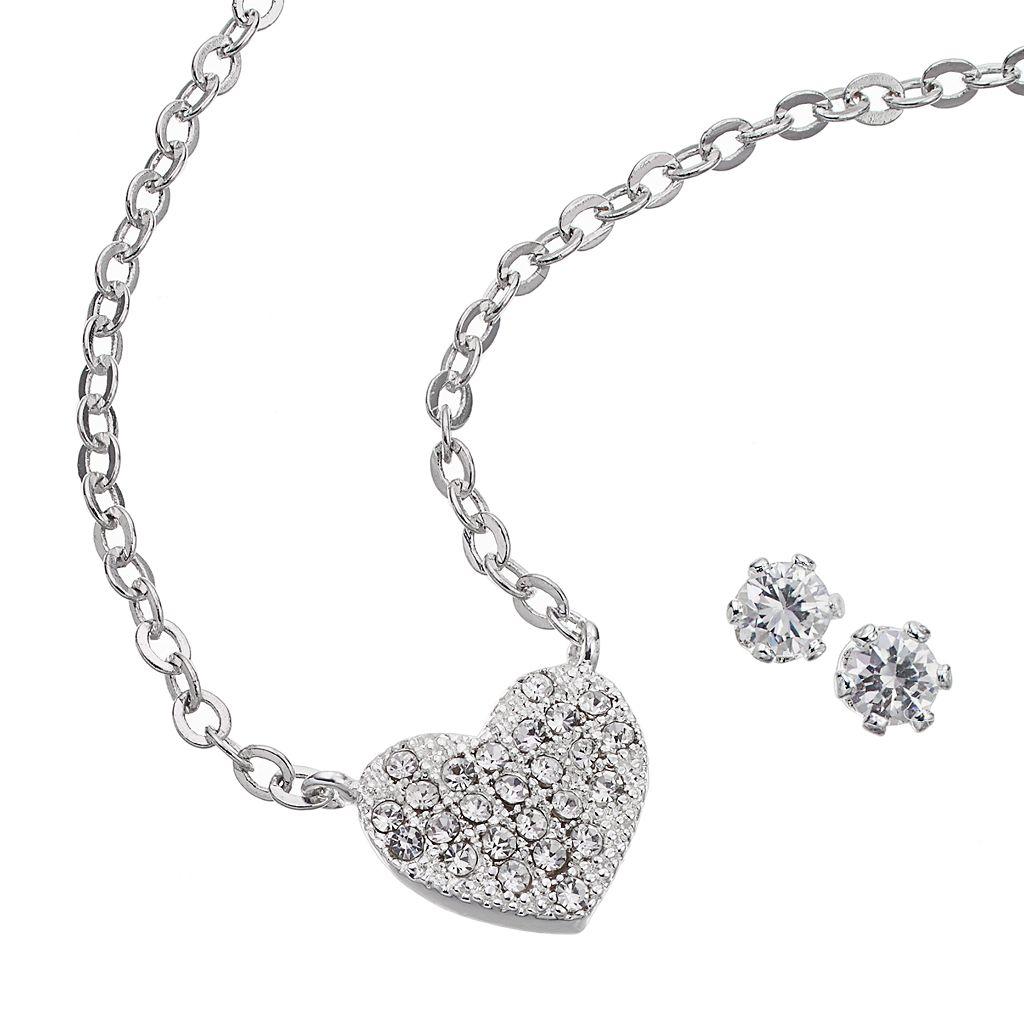 Silver Tone Cubic Zirconia Heart Necklace & Stud Earring Set