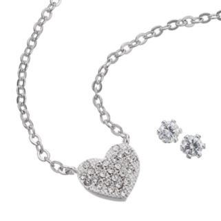 Silver Tone Cubic Zirconia Heart Necklace and Stud Earring Set