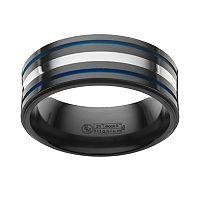 STI by Spectore Sterling Silver & Black Titanium Stripe Band - Men