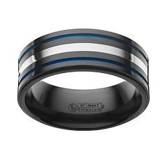 STI by Spectore Sterling Silver & Black Titanium Stripe Band - Men
