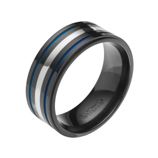STI by Spectore Sterling Silver and Black Titanium Stripe Band - Men