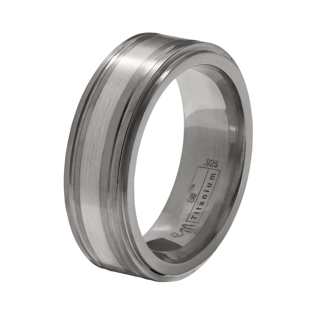 STI by Spectore Gray Titanium and Sterling Silver Band - Men