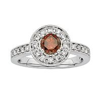 Certified Brown & White Diamond Halo Engagement Ring in 14k White Gold (1 ctT.W.)