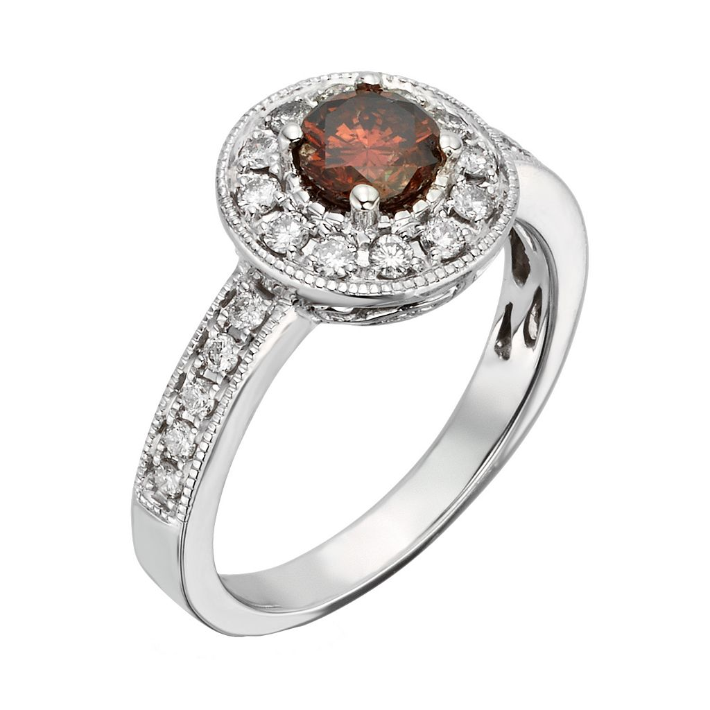 Certified Brown and White Diamond Halo Engagement Ring in 14k White Gold (1 ct. T.W.)