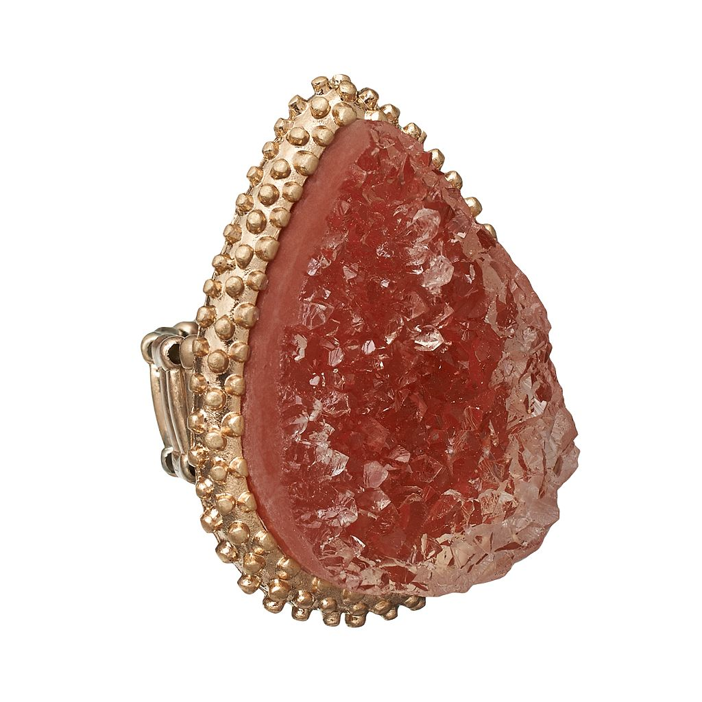 GS by gemma simone Gold Tone Simulated Drusy Teardrop Stretch Ring