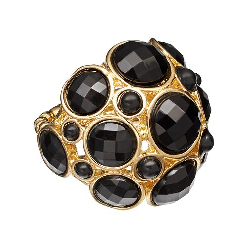 GS by gemma simone Gold Tone Openwork Dome Stretch Ring