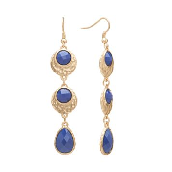 GS by gemma simone Gold Tone Hammered Linear Drop Earrings