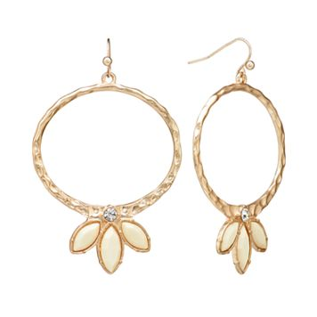 GS by gemma simone Gold Tone Simulated Crystal Hammered Oval Hoop Drop Earrings