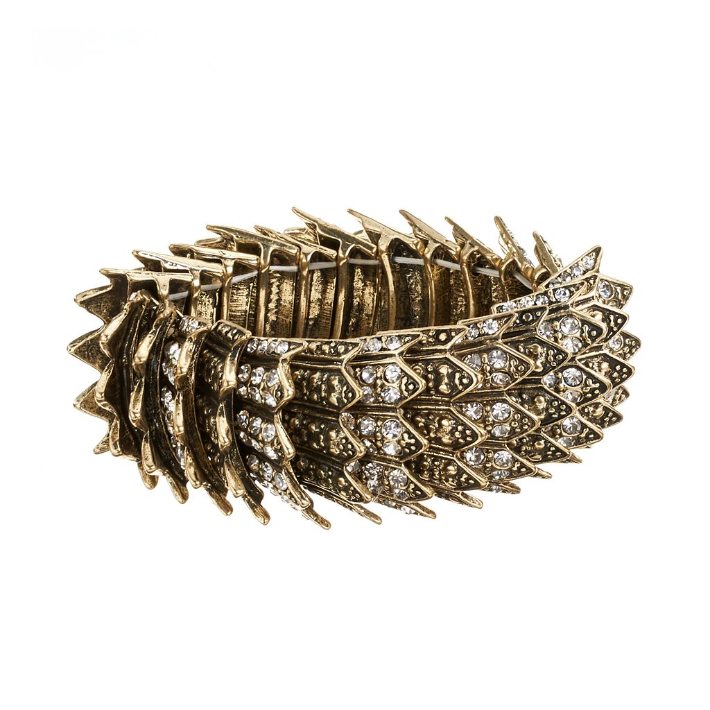GS by gemma simone Gold Tone Simulated Crystal Spike Stretch Bracelet