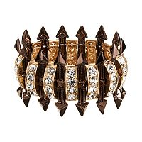 GS by gemma simone Two Tone Simulated Crystal Studded Arrow Stretch Bracelet
