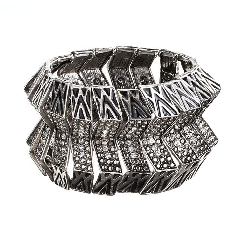 GS by gemma simone Silver Tone Simulated Crystal Textured Stretch Bracelet