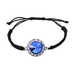 Illuminaire Silver-Plated Crystal Macrame Bracelet  - Made with Swarovski Crystals